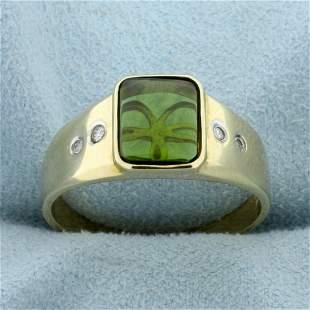 Peridot and Diamond Ring in 10K Yellow Gold