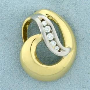 Abstract Design Diamond Pendant or Slide 18K Yellow and