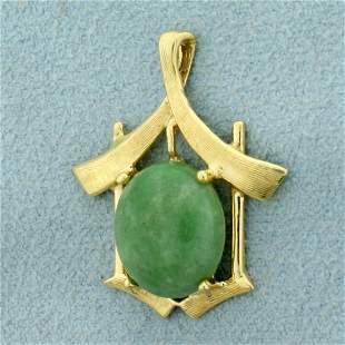 Jade Asian Design Pendant in 14K Yellow Gold
