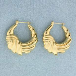 Abstract Design Hoop Earrings in 14K Yellow Gold