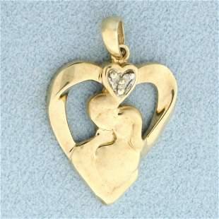 Lovers Diamond Heart Pendant in 10K Yellow Gold