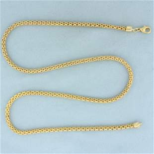 Italian Made 21 Inch Byzantine Link Chain Necklace in