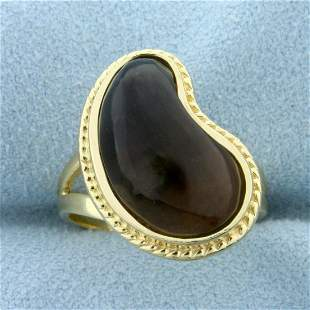 Unique Smoky Topaz Abstract Design Ring in 14K Yellow
