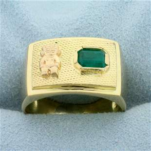 1ct Natural Emerald Aztec Ring in 18K Yellow Gold