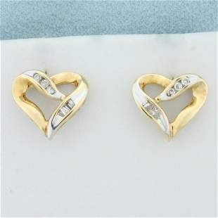 Diamond Heart Earrings in 10K Yellow and White Gold