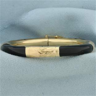 Black Jade Bangle Bracelet in 14K Yellow Gold