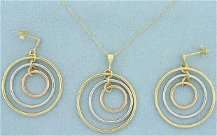 Tri Color Pendant and Dangle Earring Set in 14K Yellow,