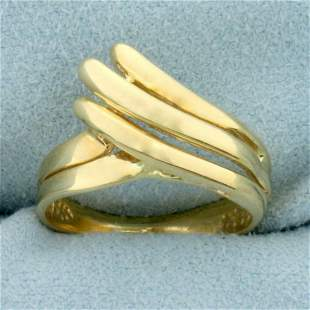 Abstract Wave Design Gold Ring in 10K Yellow Gold