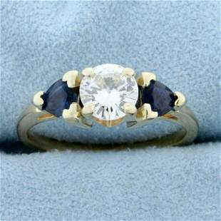 3 Stone Diamond and Sapphire Engagement Ring in 14K