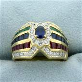 Designer Natural Sapphire, Emerald, Ruby, and Diamond