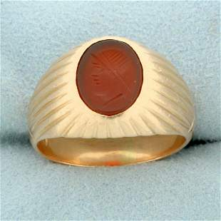 Mens Roman Soldier Cameo Ring in 14K Rose Gold