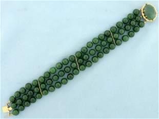 Jade Bead Multi Strand Bead Bracelet in 14K Yellow Gold