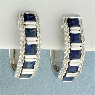 Michael C. Fina Sapphire and Diamond Hoop Earrings In