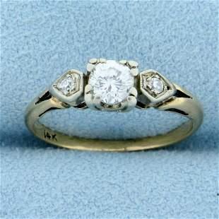 Vintage Three Stone Diamond Engagement Ring in 14K