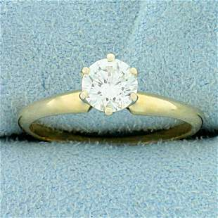 2/3ct Solitaire Diamond Engagement Ring in 14K Yellow