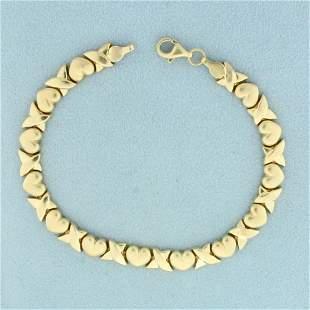 7 Inch Heart Link Chain Bracelet in 10K Yellow Gold