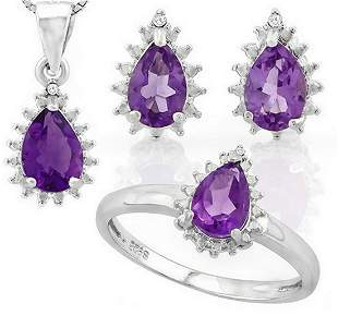 Amethyst 2.6CTW Ring Earring and Necklace Set in