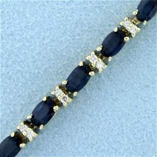 6ct TW Sapphire and Diamond Tennis Bracelet in 14K