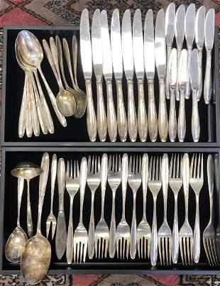 46 Piece Gorham Willow Sterling Silver Flatware Set