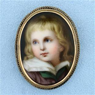 Antique Hand Pained Child's Cameo Pin