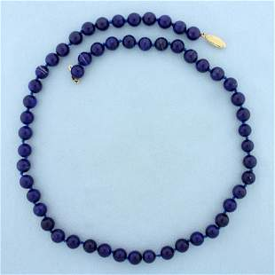 Lapis Lazuli Bead Necklace with 14K Yellow Gold Clasp