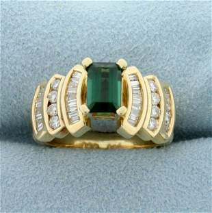 1.5ct TW Chrome Tourmaline and Diamond Ring in 14K