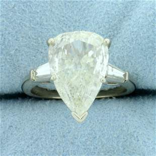 4ct TW Pear Diamond Engagement Ring in 14K White Gold