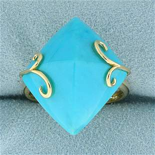 Persian Turquoise Statement Ring in 14K Yellow Gold