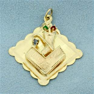 Merry Christmas Stocking and Candy Cane Pendant in 14K