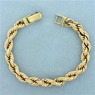 Mens Heavy Rope Chain Bracelet in 14K Yellow Gold