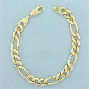 Mens Heavy 9 Inch Figaro Link Chain Bracelet in 14K