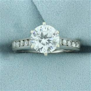 2ct TW CZ and Diamond Engagement Ring in 18K White Gold