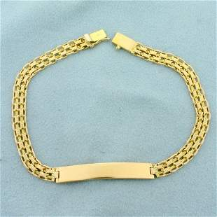Mens 8 1/2 Inch Bismark Link ID Bracelet in 14K Yellow