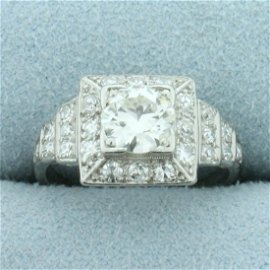 Vintage 1.5ct TW Halo Diamond Engagement Ring In