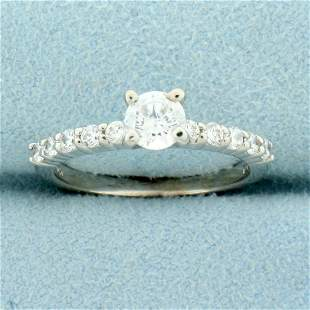 CZ Engagement Ring in 10K White Gold
