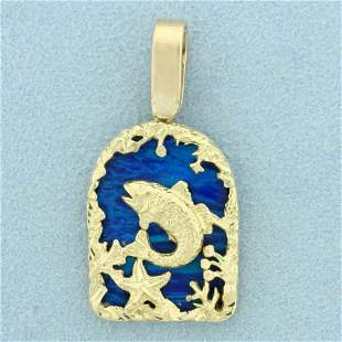Blue Opal Fish Pendant in 14K Yellow Gold