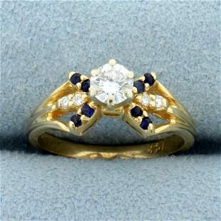 Vintage Sapphire and Diamond Engagement Ring in 14K