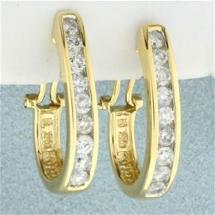 1.25ct TW Diamond J Hoop Huggie Earrings in 14K Yellow