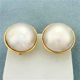 Mabe Pearl Earrings for Non-pierced Ears In 14K Yellow