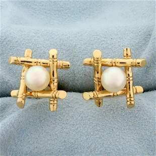 Akoya Pearl Bamboo Design Cufflinks in 14K Yellow Gold