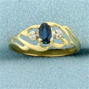 Vintage Sapphire and Diamond Ring in 14K Yellow Gold