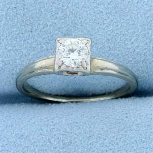 Vintage 1/3ct Diamond Solitaire Engagement ring in 14K
