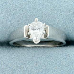 3/4ct Pear Shaped CZ Solitaire Engagement Ring in 14K