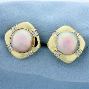 Oversized Mabe Pearl and Diamond Earrings in 14K Yellow