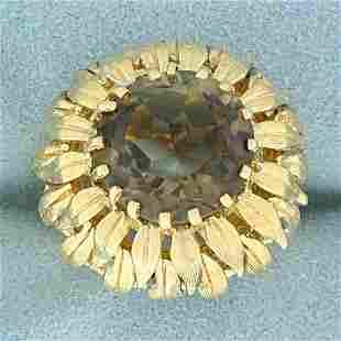 8ct Smoky Quartz Leaf Nature Design Ring in 14K Yellow