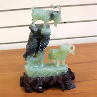 Jade Mountain Sheep Hand Carved Chinese Figurine with