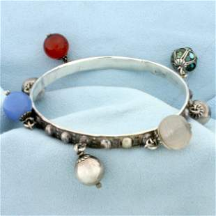 Designer Perruzzi Sterling Silver Bangle FOB Bracelet