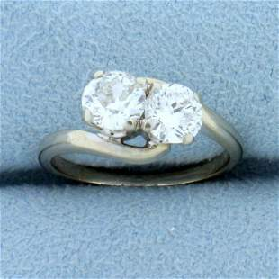 Old European and Round Brilliant Two Stone Diamond Ring