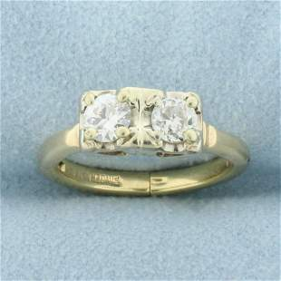 1/2ct TW 2 Stone Old European Cut Diamond Ring with