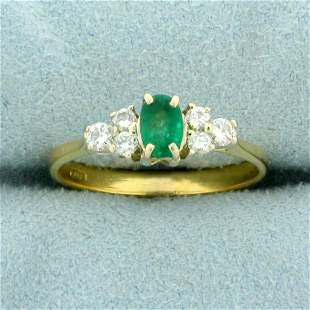 1ct TW Emerald and Diamond Ring in 18K Yellow Gold
